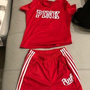 PINK Victoria Secret L Tracksuit Red